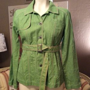 Free People Green Linen Blend Jacket Belt Size 4